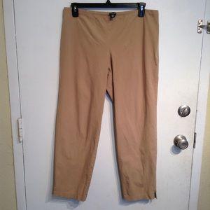 Eileen Fisher Tan Khaki Basic Flat Front Pants
